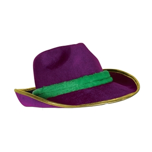 green and purple fedora hat