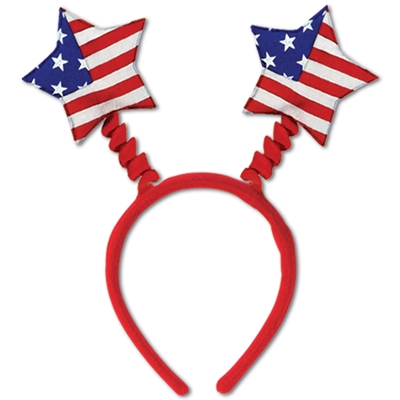 American Flag headband boppers with patriotic stars on top of the head