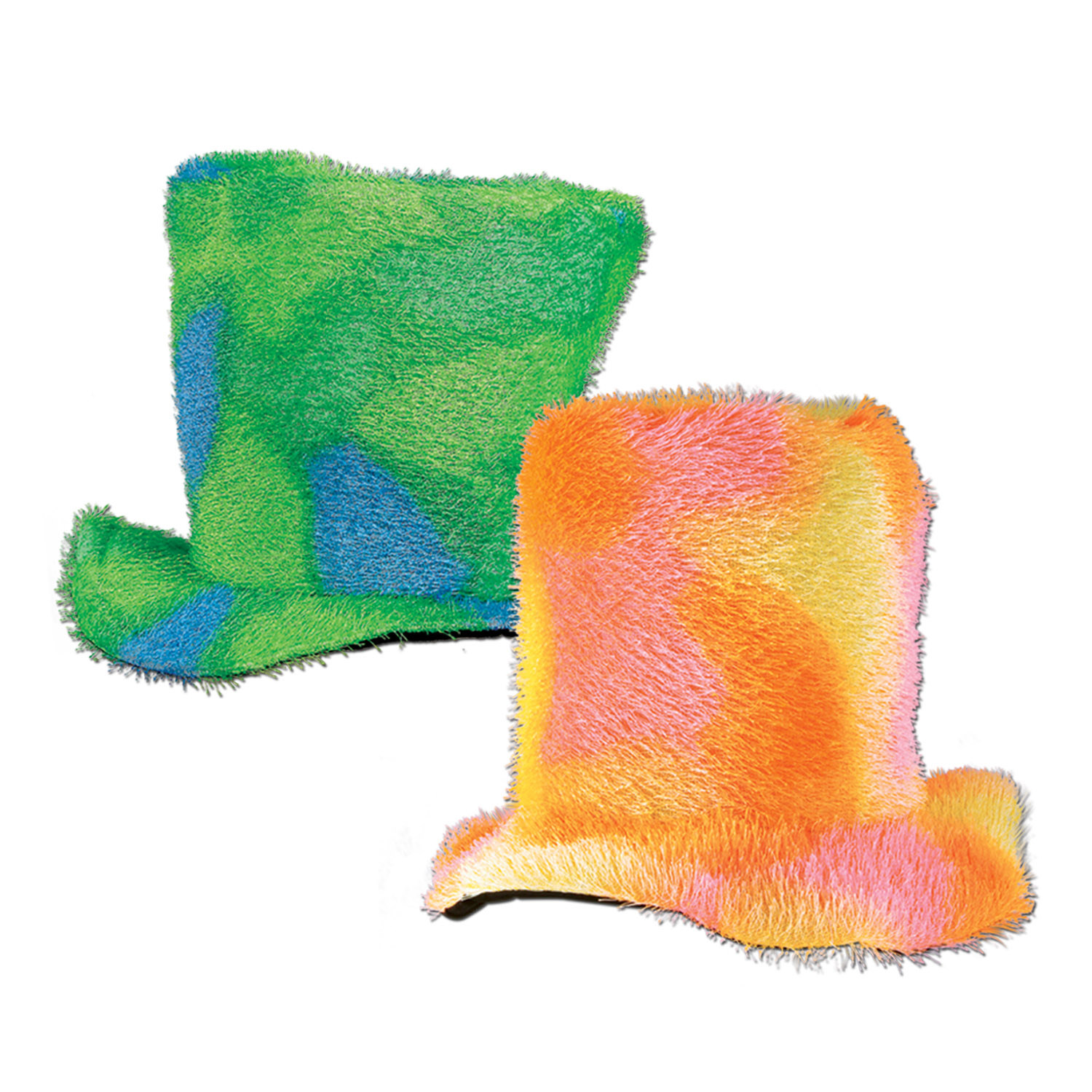1970s style fuzzy hat in green and yellow