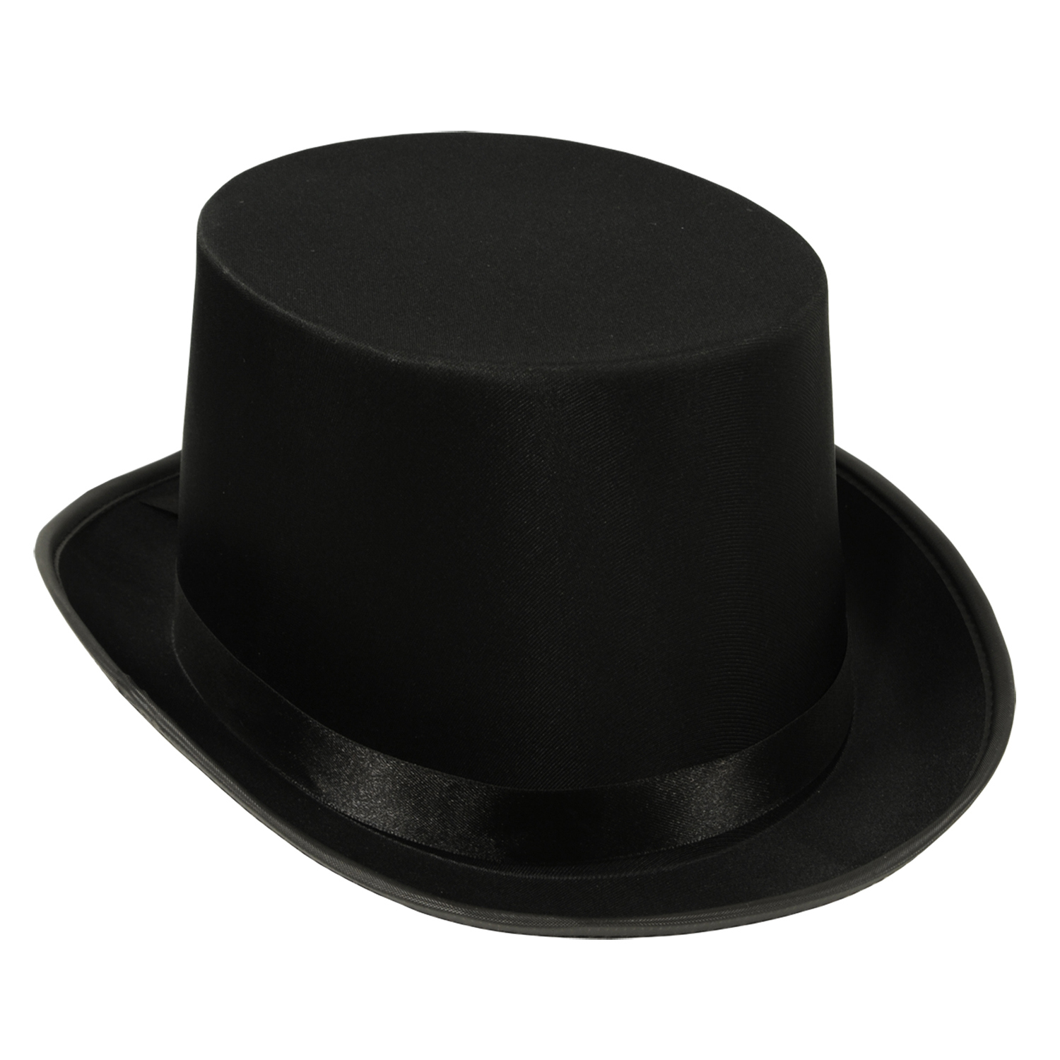 Black top hat that is made of a satin material.