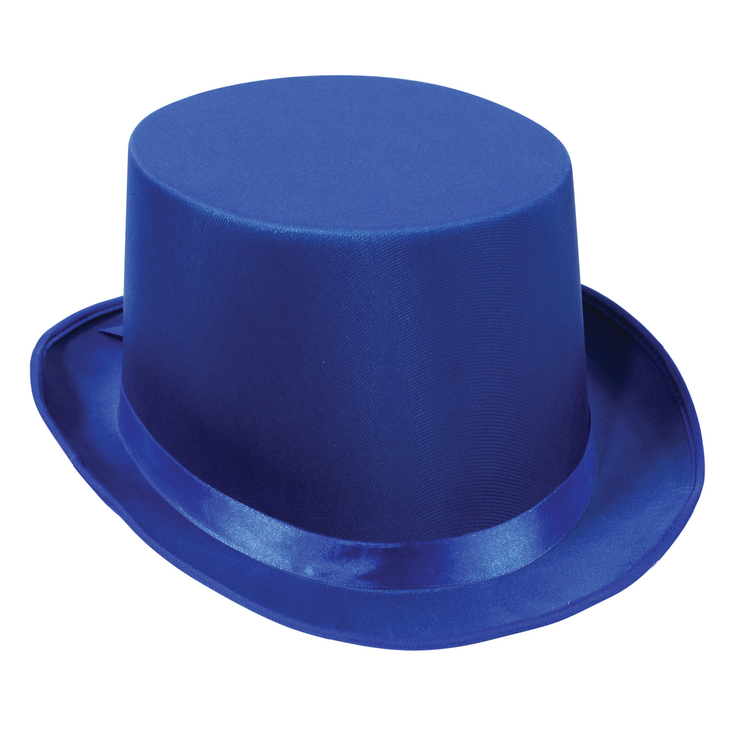 Royal blue satin New Years Eve top hat.