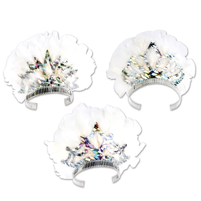 Three different designed prismatic tiaras with a spread of white feathers.