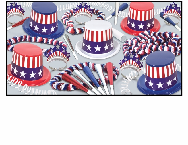 patriotic party kit that has red, white, and blue hats with american flags on them along with horns, leis, and tiaras