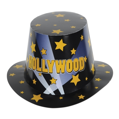 Black Hollywood hi-hat with golden stars and light beams.