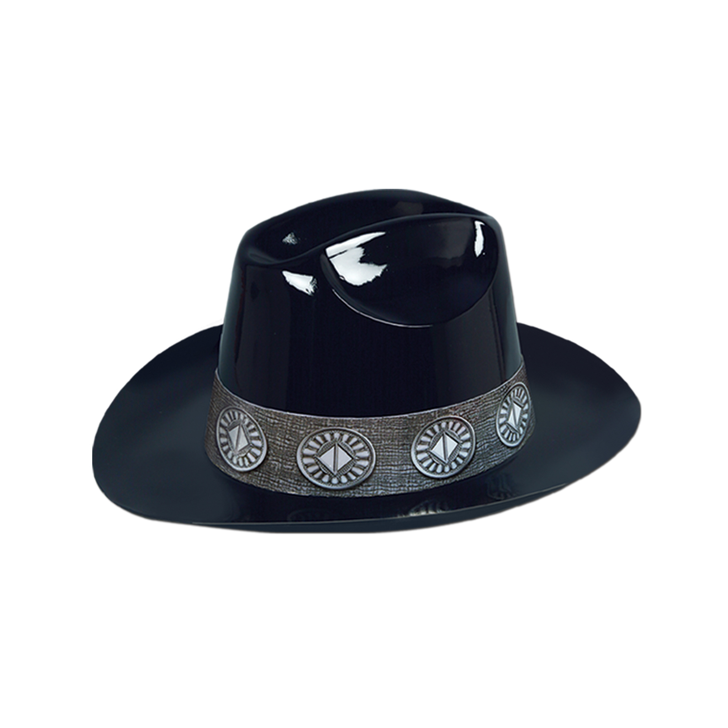 Black plastic cowboy hat with decorative grey cardstock band.