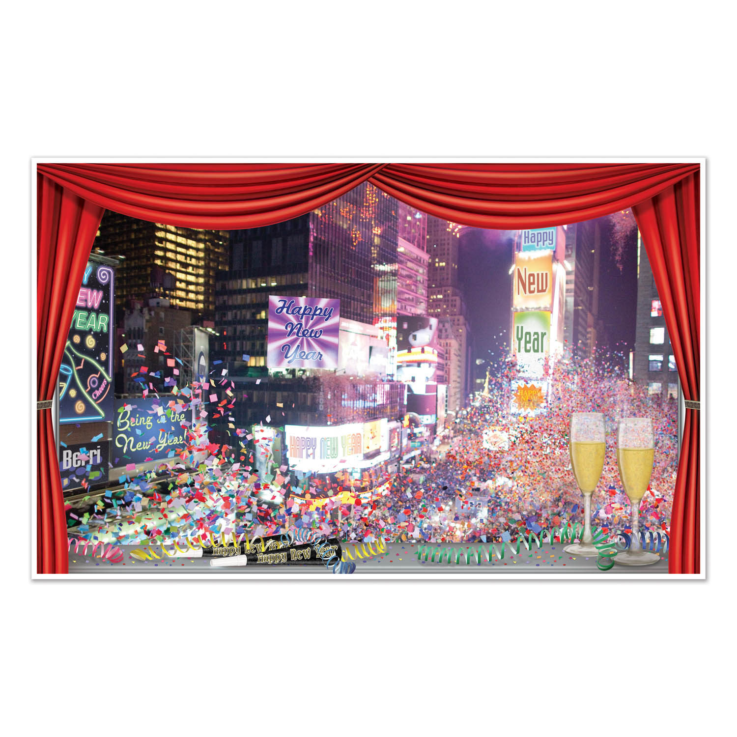 New York scene printed on thin plastic material to hang on your walls.