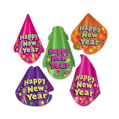 "Bright colored party hats with festive designs and the words ""Happy New Year""."