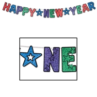 Black Happy New Year streamer with alternating glittered, colored lettering.