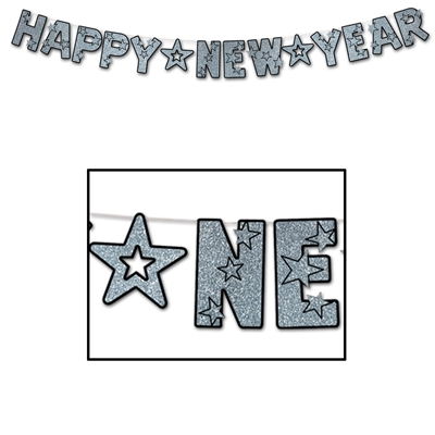 Black Happy New Year streamer with silver glittered lettering.