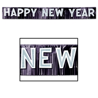 Black metallic fringed banner with glitted white cardstock, happy new year, lettering.