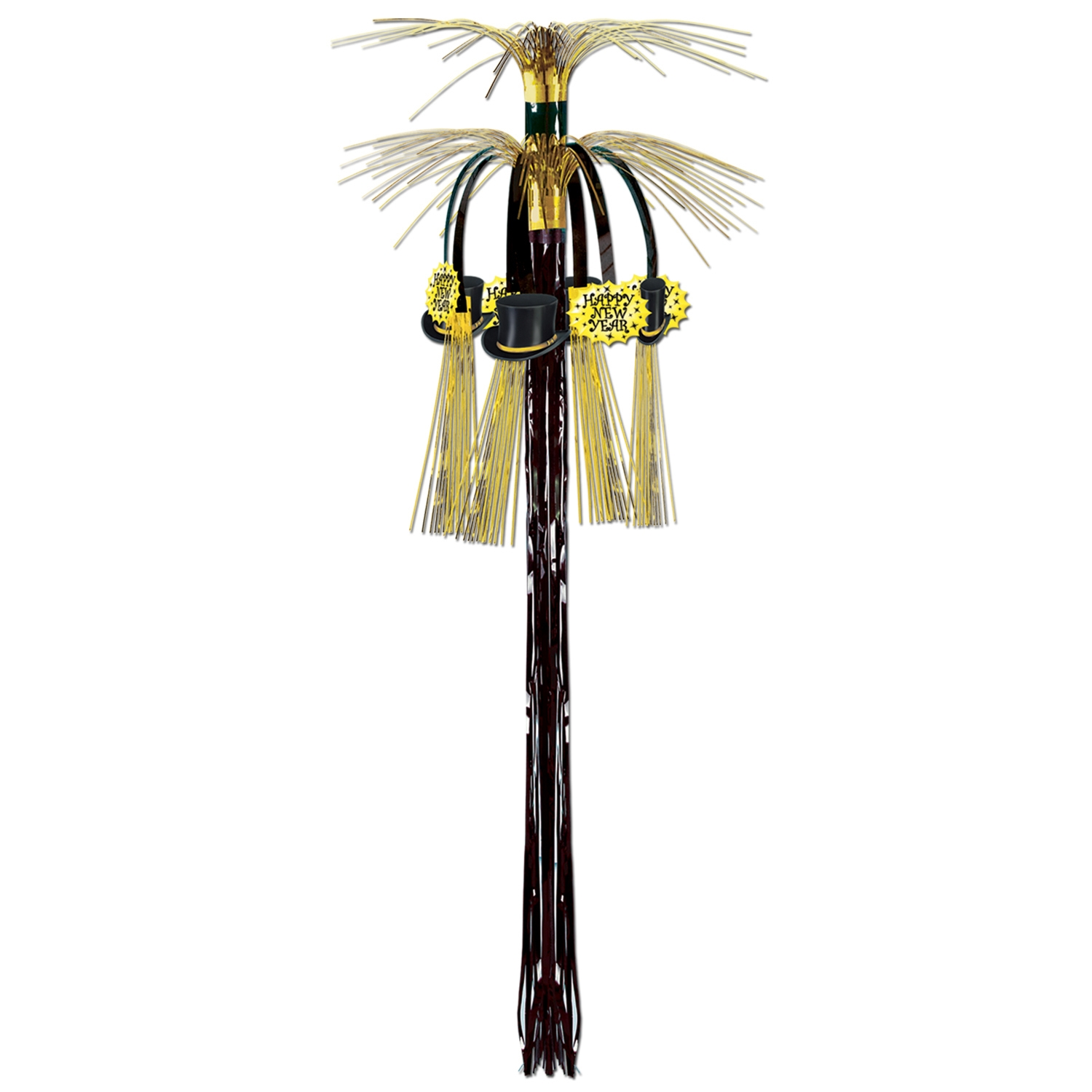 Cascade hanging column made from black and gold metallic material with top hat and Happy New Year icons.