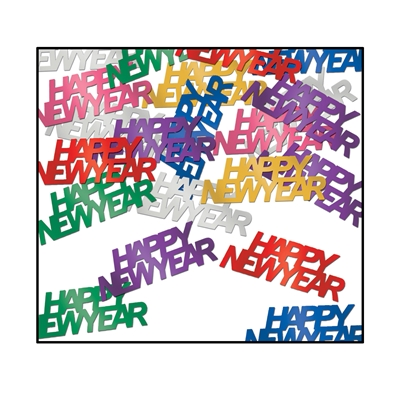 "Metallic material multi-colored confetti that reads ""Happy New Year""."