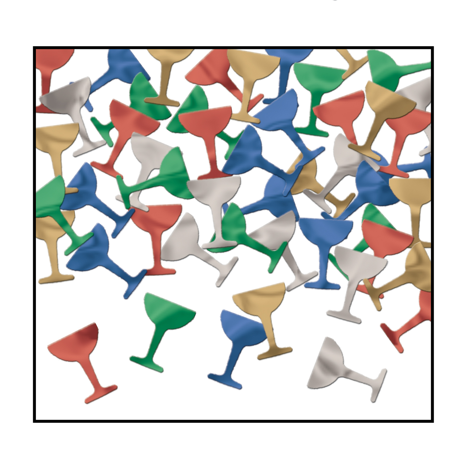 Goblet confetti packaged in assorted colors and made of metallic material.