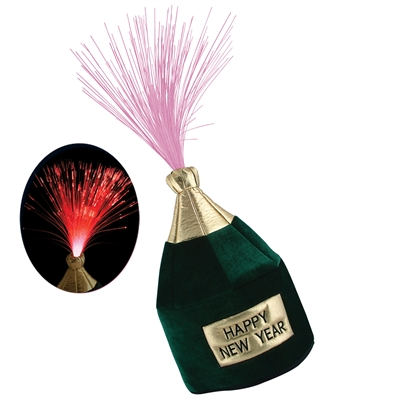 Plush campagne bottle attached to a metal hair clip and includes led lights.