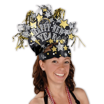 Glittered New Years Eve  headwear overflowing in colors gold, silver and black.