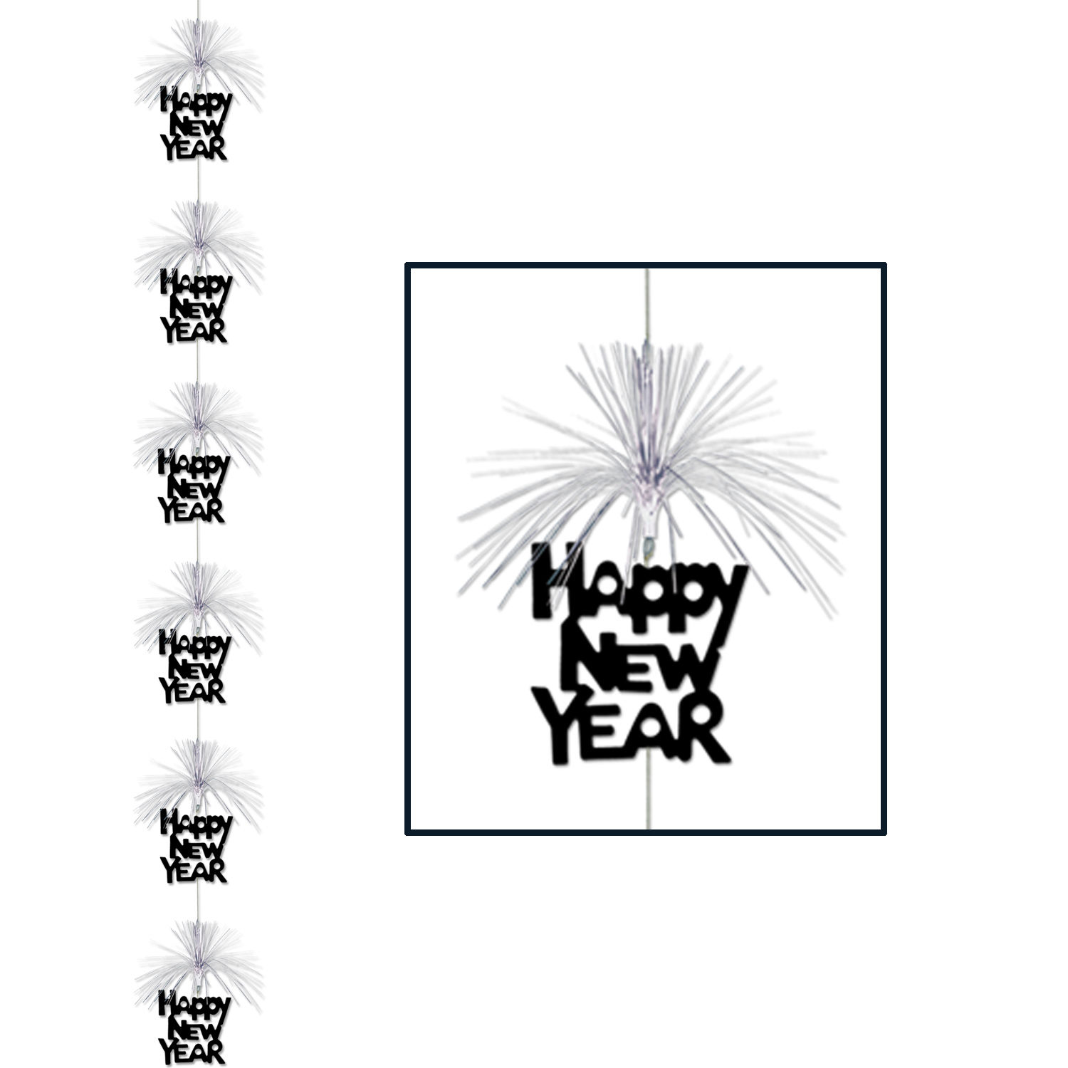 "Black Happy New Year vertical stringer with silver metallic fringe above each ""Happy New Year"""
