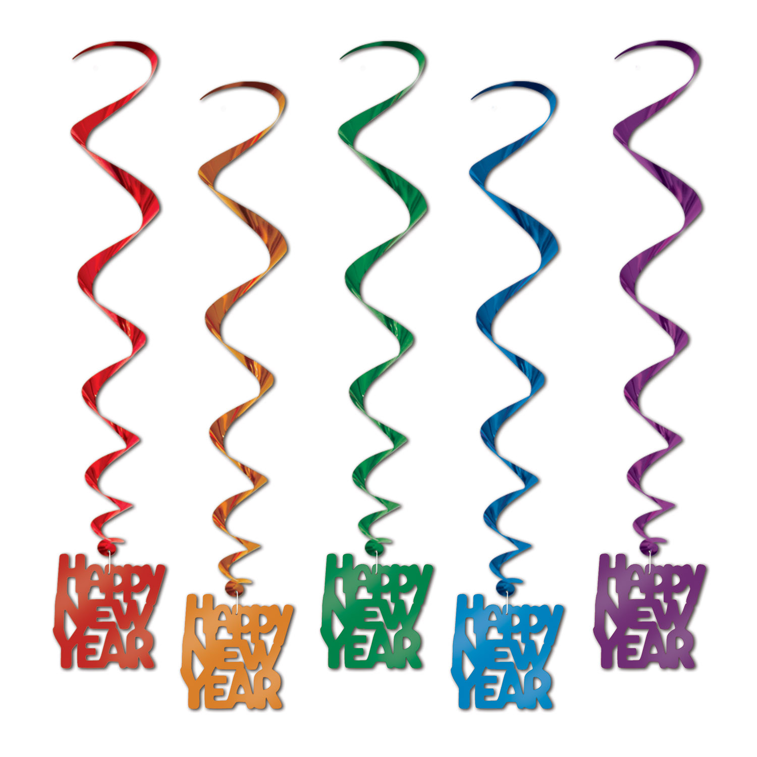Red, Orange, green, blue, and purple Happy New Year Metallic whirls.