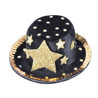 Top hat hair clip with a black base, gold stars, dots and sequines.