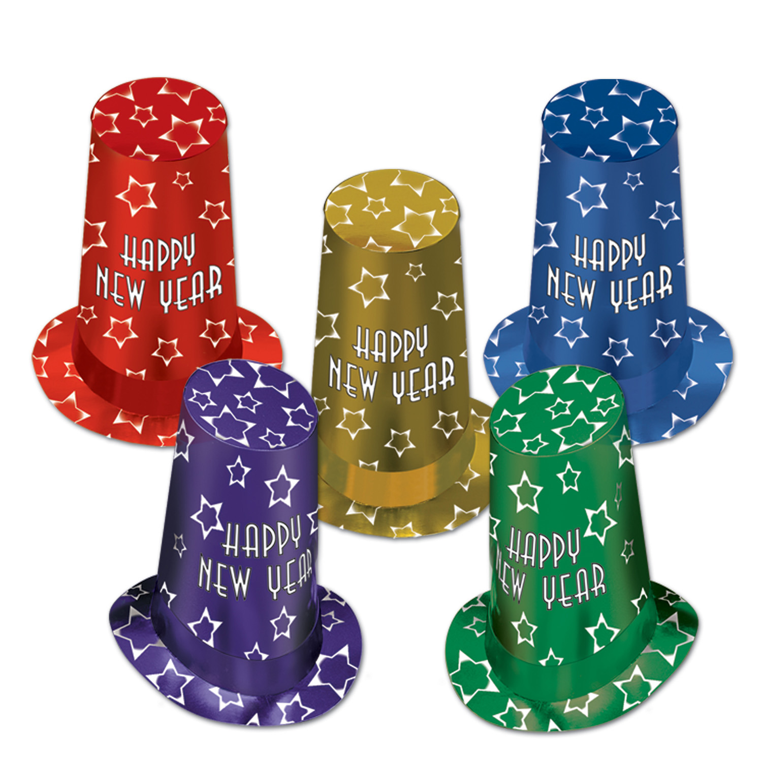Assorted packaged of super high hats in different vibrant colors and accented with printed white stars.