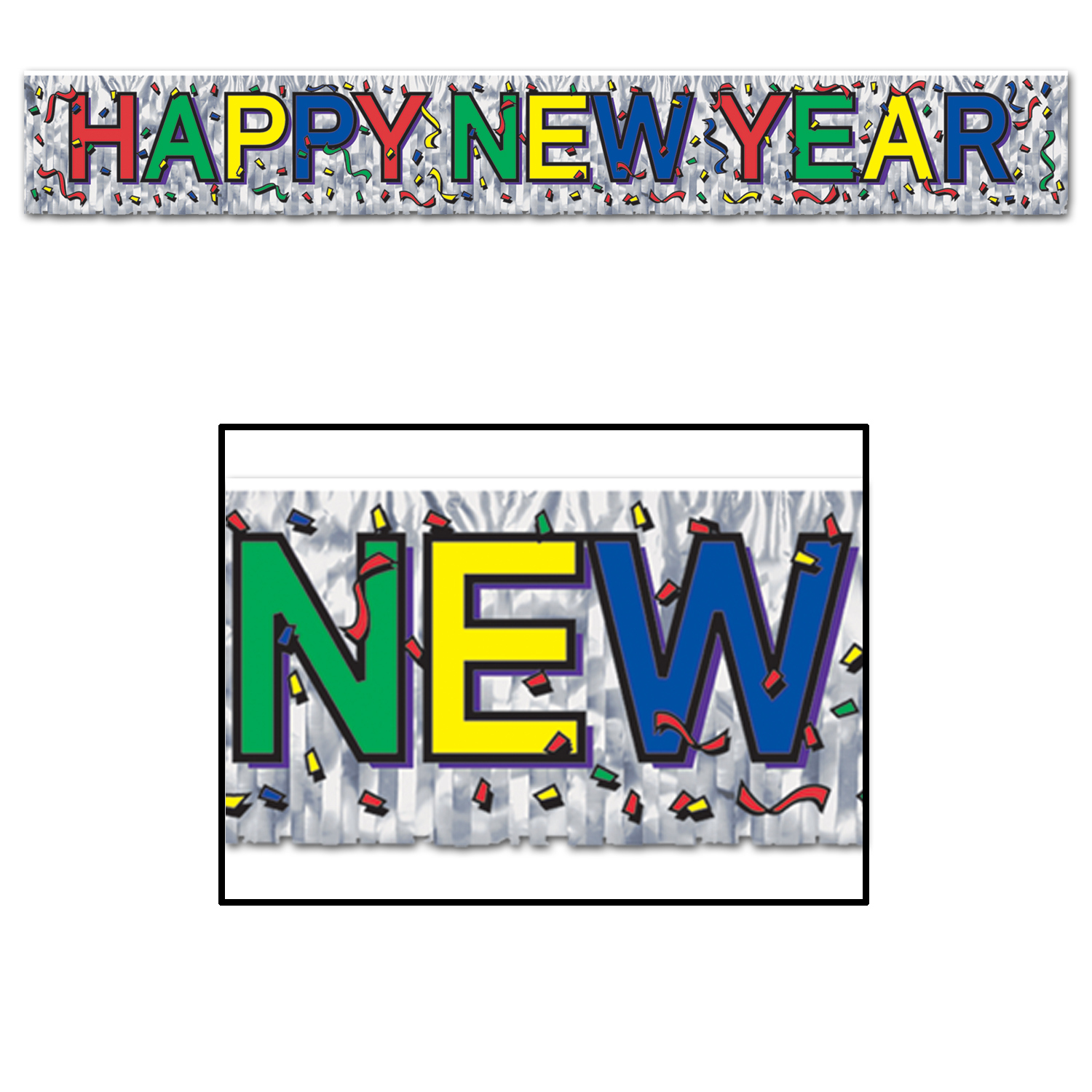 Silver metallic fringe Happy New Year banner with red, green, yellow, and blue alternating lettering along with tiny confetti piece design.