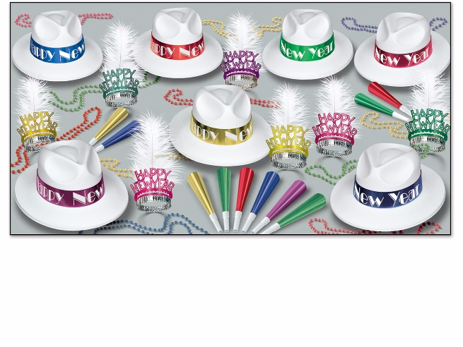 Party kit for new years eve that has white fedora party hats with tiaras, horns, and beads all in bright colors
