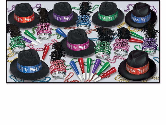 assorted mixed colored fedora new years party kit that also includes tiaras with black feathers, horns, and beads