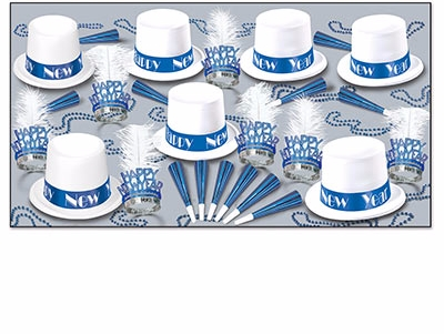 white and blue winter themed new years eve party kit for 50 people