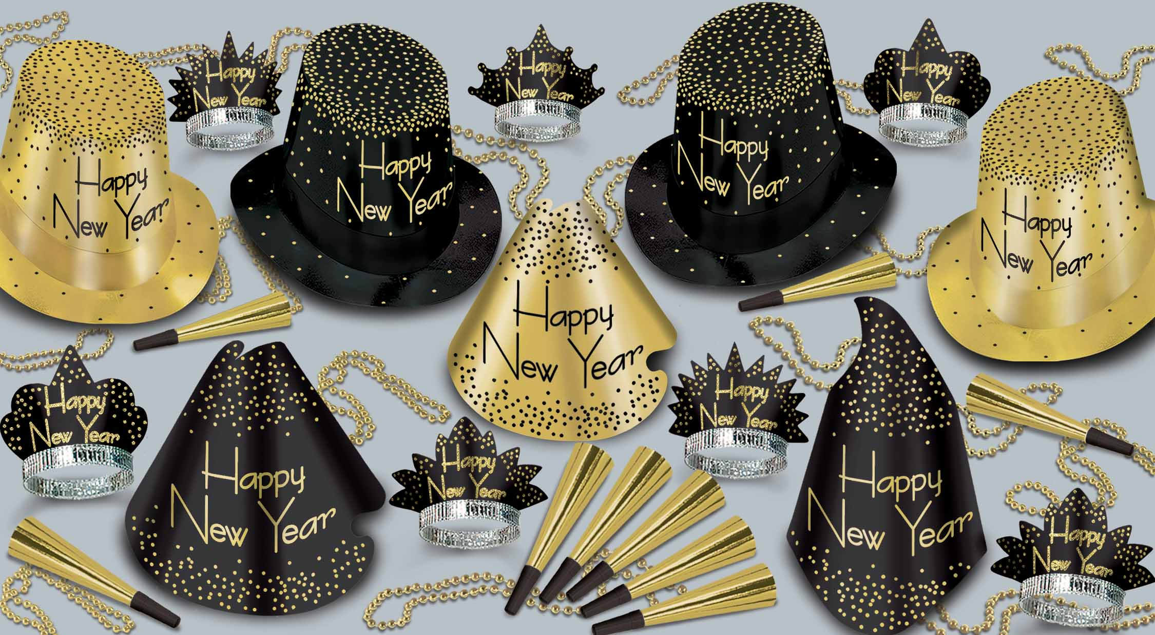 black and gold nye party kit with a mix of different types of hats and nye tiaras