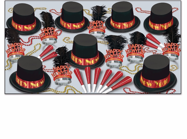 Red and black new years eve party kits with velour top hats