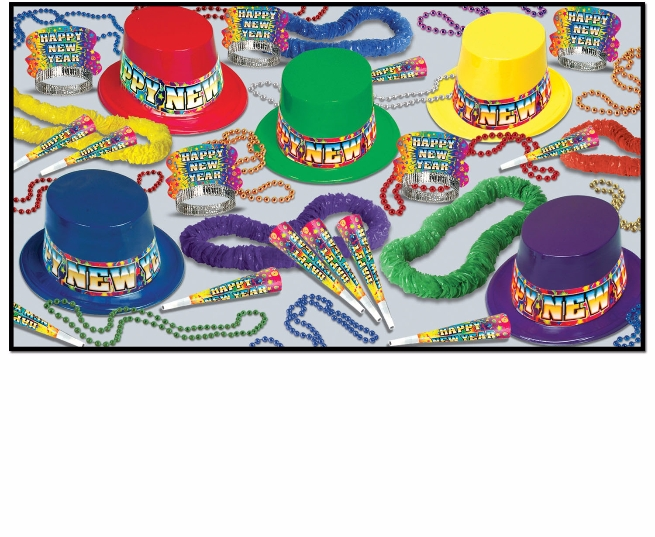 bright colored new years party kit with top hats, party horns, leis, and beads