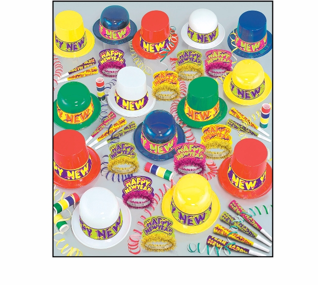 large nye party kit with an assortment of colorful party hats, tiaras, and horns