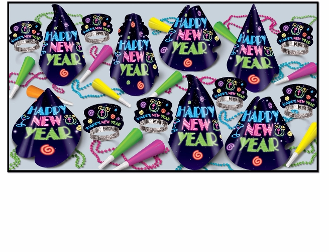bright colored neon nye party kit for 50 guests that has hats, tiaras, horns, and beads