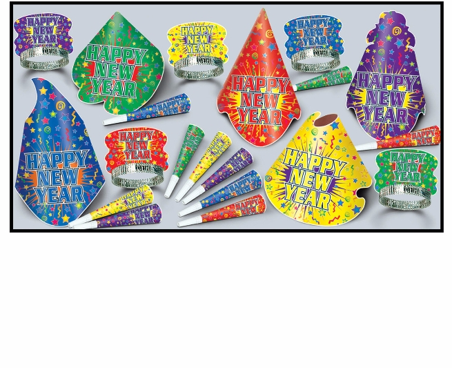 multi-color new years eve party kit with party hats, nye tiaras, and party horns