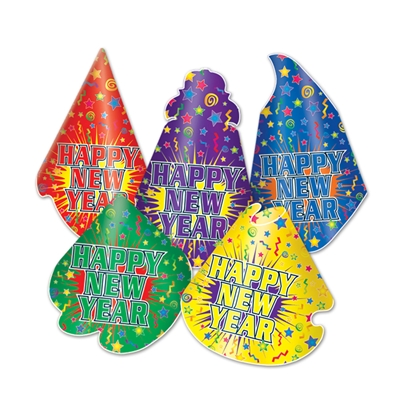 "Colorful party hats with a decorative back ground to match and words that reads ""Happy New Year""."