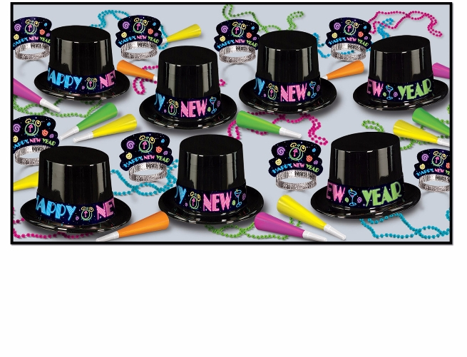 Neon 1980s themed New years eve party kit with top hats and tiaras