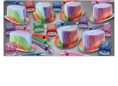 retro looking cellophane new years eve party kit