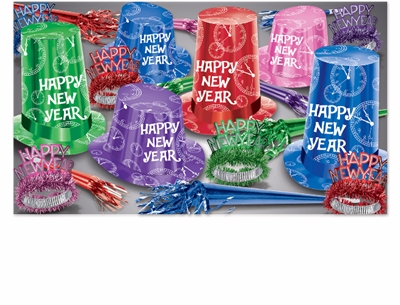 bright colored new years eve party kit with extra large hats with clocks on them along with happy new year tiaras and noisemakers
