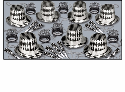 silver and black diamonds party kit that has party hats, tiaras, horns, and beads