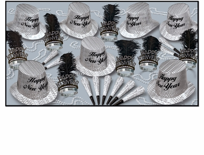silver prismatic nye party kit for 50 people that has black and silver top hats, feathered tiaras, prismatic horns, and party beads