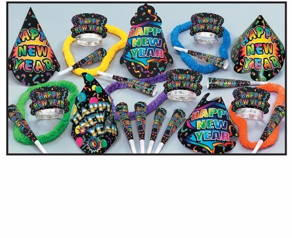 nye party supplies with happy new year cone hats, party leis, and noisemakers
