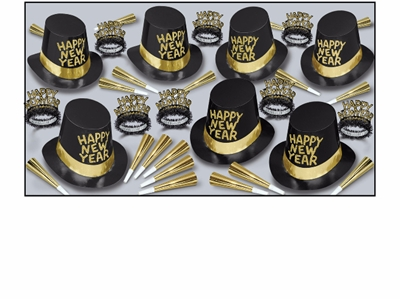 black and gold new year party kit with black hats with gold happy new year written on them with black and gold tiaras and gold party horns