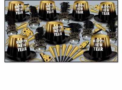black and gold nye party kit with party hats, happy new year tiaras, horns, noisemakers and beads