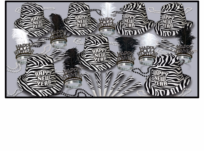 Zebra themed new years eve party kit with black and white stripes