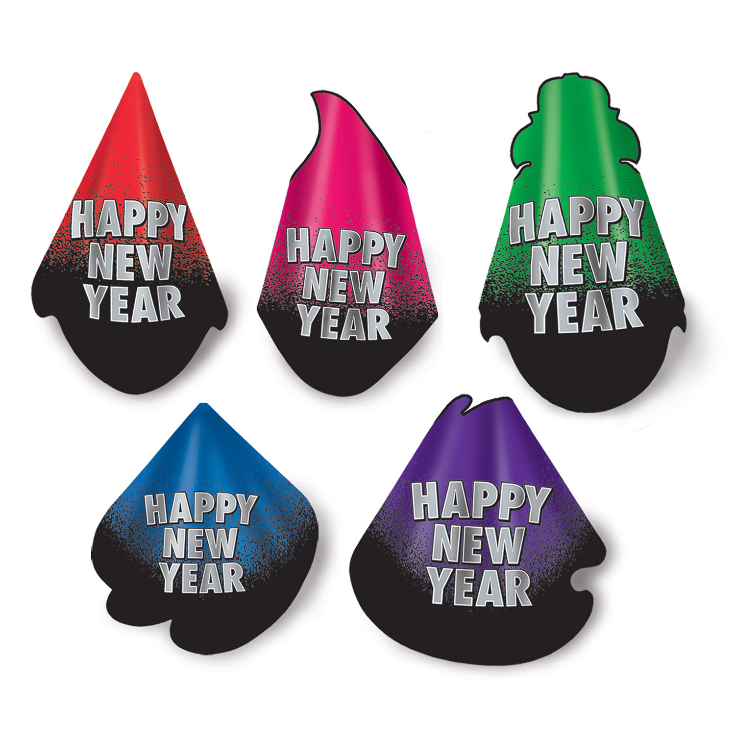 "Traditional party hats with a black bottom that fades to other colors such as red, pink, green, blue, and purple with the words ""Happy New Year"" in silver."