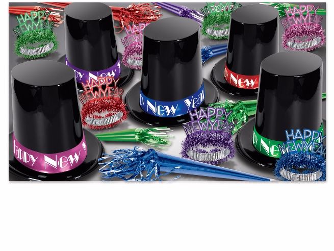 assorted color new years eve kit with big black top hats with bright colored bands with new year tiaras and noisemakers