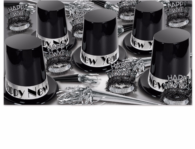 black and silver new years eve party kit with enough items for 50 people that comes with extra large black top hats, fringed tiaras, and horns