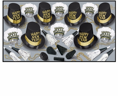 upscale looking new year party kit with primarily black and gold colors with white accents that include top hats, beads, tiaras with feathers, and noismakers