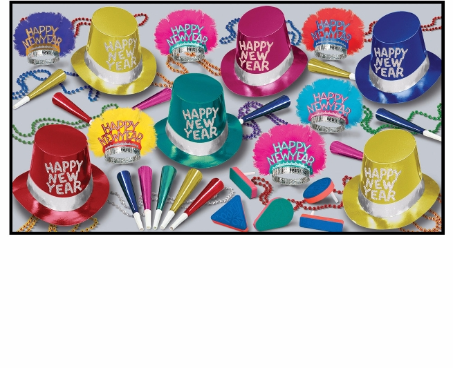 bright colored new years eve party kit with multi-colored party hats, glittered tiaras, party horns, bright colored noisemakers, and beads