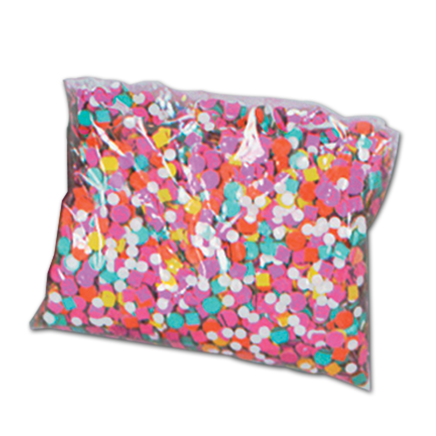 Two ounce bags of assorted colored confetti that is also assorted in size.