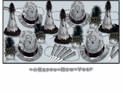black and silver new years eve party kit with a design of clocks just about to strike midnight